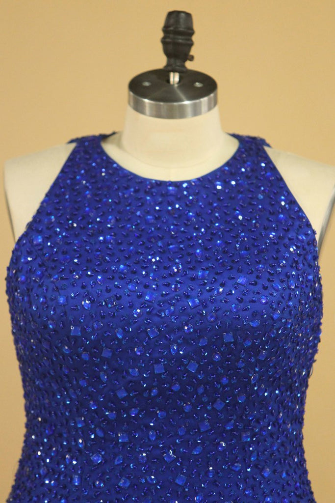 Floor Length Prom Dresses Scoop Beaded Bodice Mermaid Tulle Dark Royal Blue