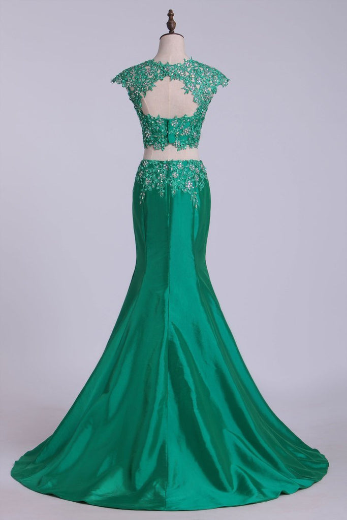 2019 Two Pieces Bateau Prom Dresses Mermaid Sweep Train With Beading &