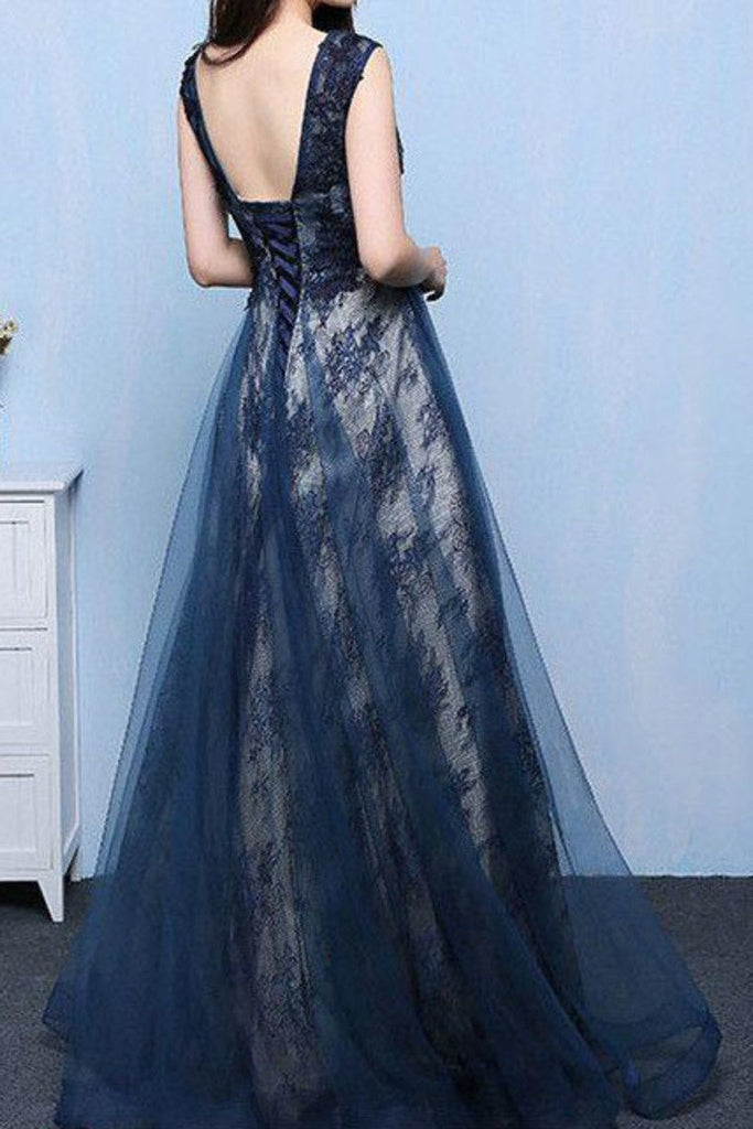 2019 Tulle & Lace Scoop With Applique A Line Sweep Train