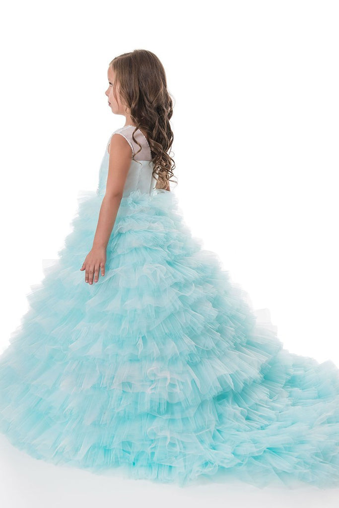 2019 Tulle V Neck With Beading Flower Girl Dresses A Line Sweep