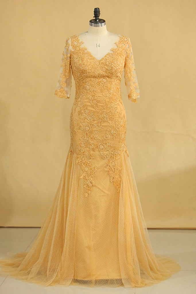 Plus Size Half Sleeves V Neck Mother Of The Bride Dresses Mermaid Tulle With Applique Sweep Train Color Gold