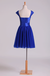 Homecoming Dresses Off The Shoulder Dark Royal Blue A Line Tulle With Ruffles