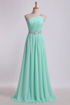 2019 Prom Dresses One Shoulder A-Line Chiffon With Beading&Sequins Floor Length