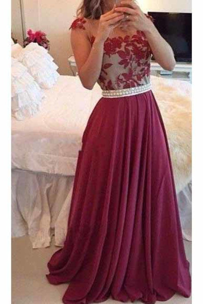 2021 Chiffon Scoop With Applique And Beads Prom Dresses A