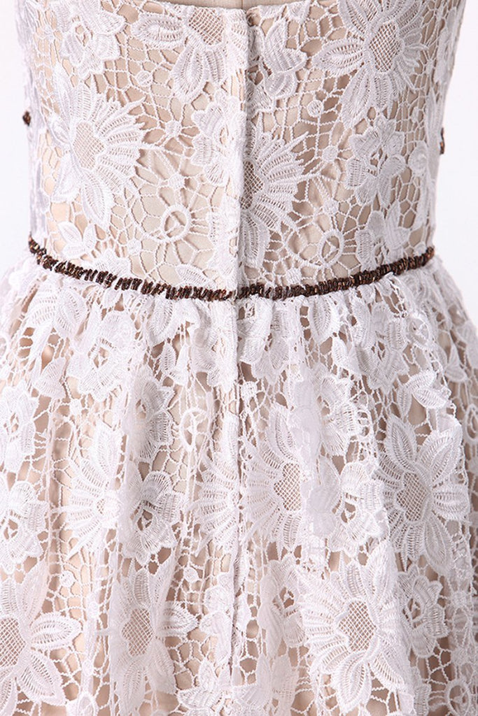 2019 Lace Spaghetti Straps Homecoming Dresses A Line Above Knee