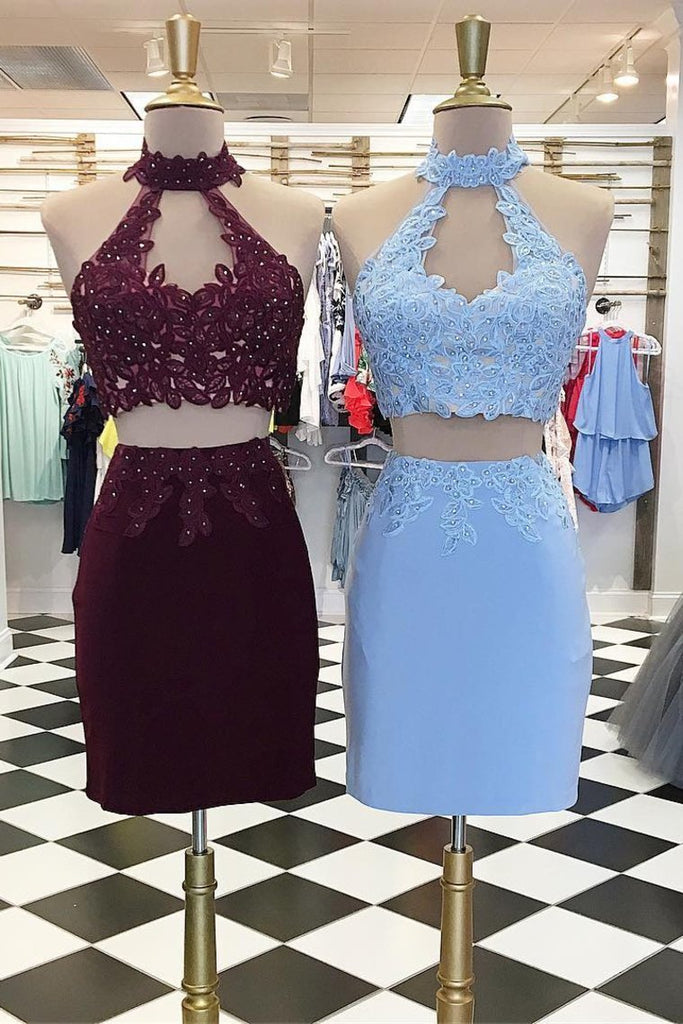 2019 Two Pieces High Neck Homecoming Dresses Sheath Chiffon With Applique And