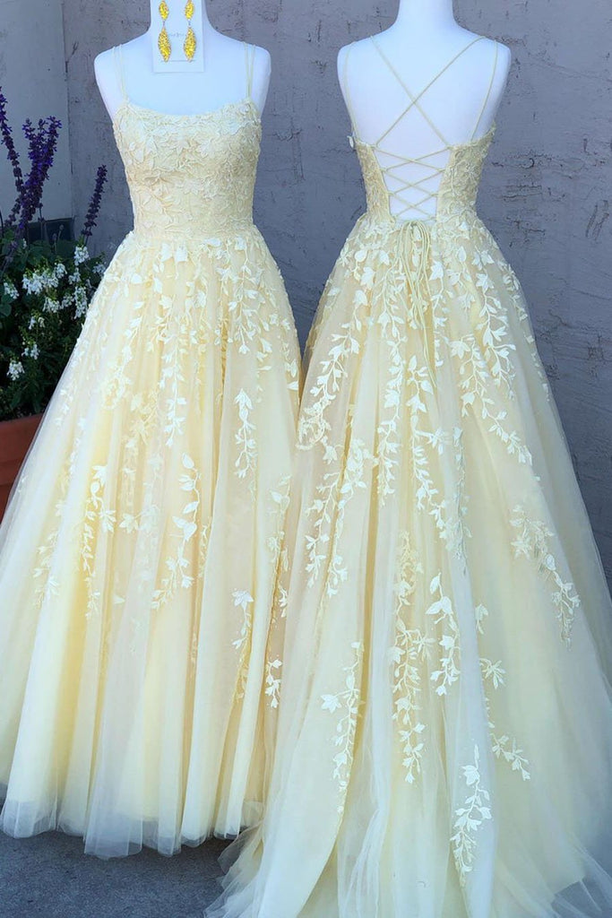 A Line Tulle Yellow Spaghetti Straps Prom Dresses with Appliques Party STC15613