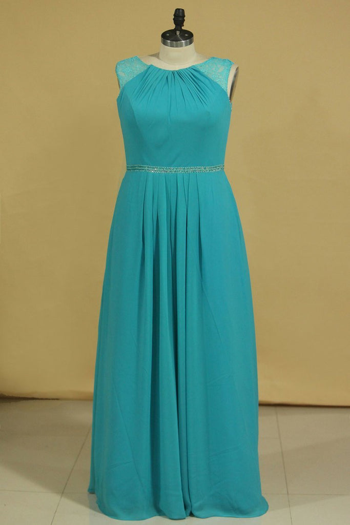 A Line Scoop Beaded Waistline Floor Length Mother Of The Bride Dresses Chiffon & Lace