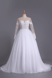 2019 Long Sleeves Bateau Open Back Wedding Dresses Tulle With Applique