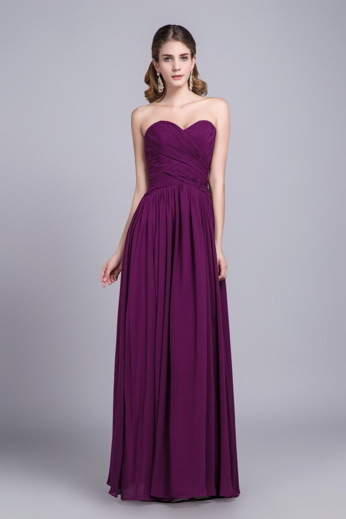 Affordable Bridesmaid Dresses/Prom Dresses A-Line Sweetheart Floor-Length Chiffon
