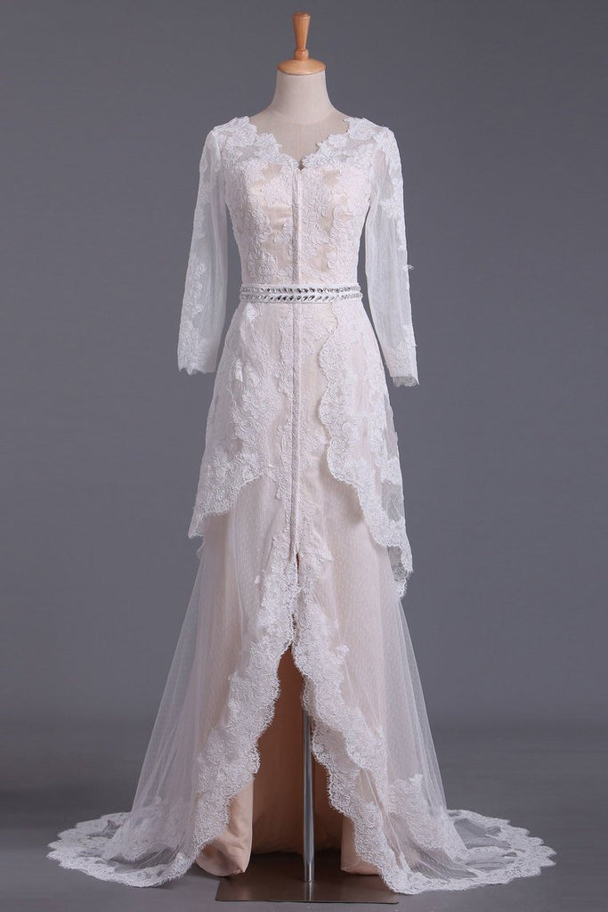 2021 Asymmetrical Wedding Dresses V Neck Mid-Length Sleeves With Applique And Sash Tulle