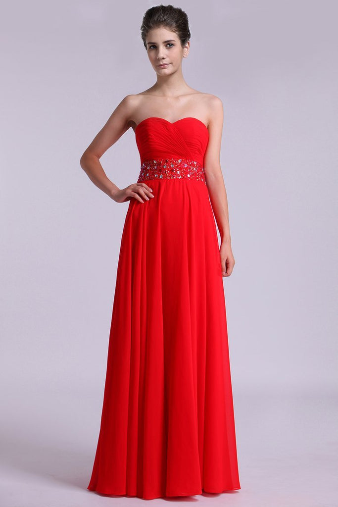 2019 Sweetheart Prom Dresses A Line Chiffon Floor Length Beaded