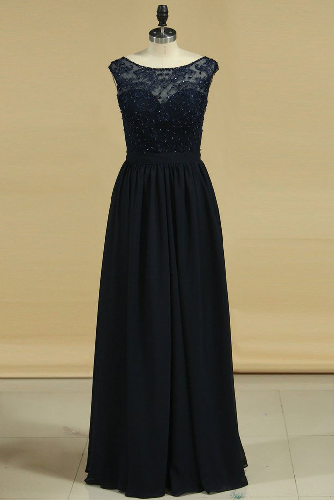 2019 A Line Scoop With Embroidery Bridesmaid Dresses