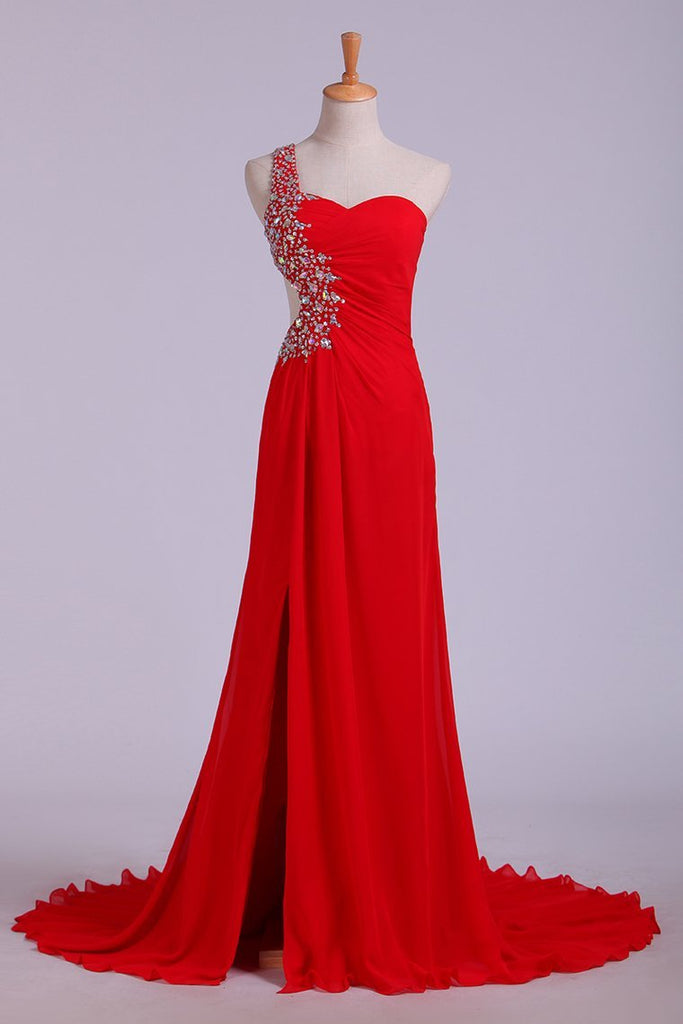2019 Prom Dresses Red One Shoulder Chiffon