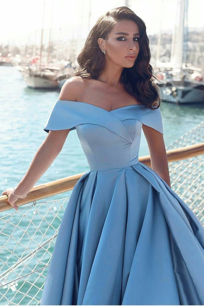 2019 A Line Off The Shoulder Prom Dresses Satin With