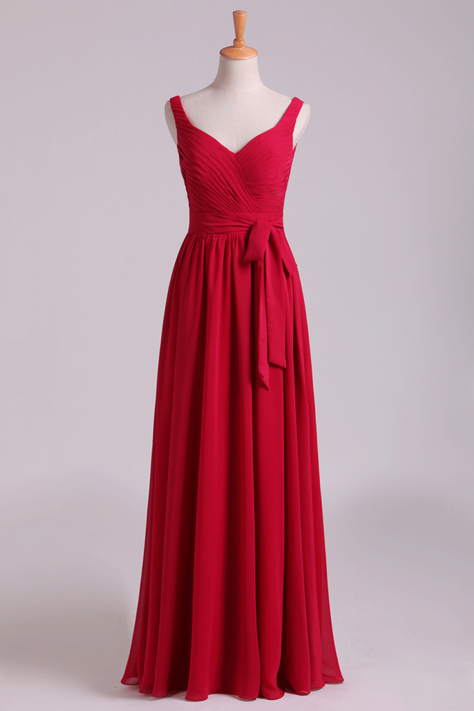 2019 New Arrival Bridesmaid Dresses Straps A-Line Chiffon Floor-Length