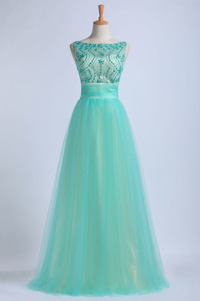 2019 Prom Dresses Scoop Floor Length Tulle With Beadings