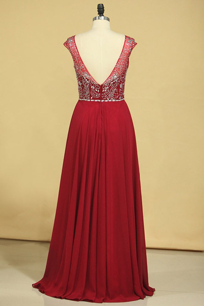 Burgundy Prom Dresses A-Line Scoop Floor-Length Chiffon Beaded Bodice
