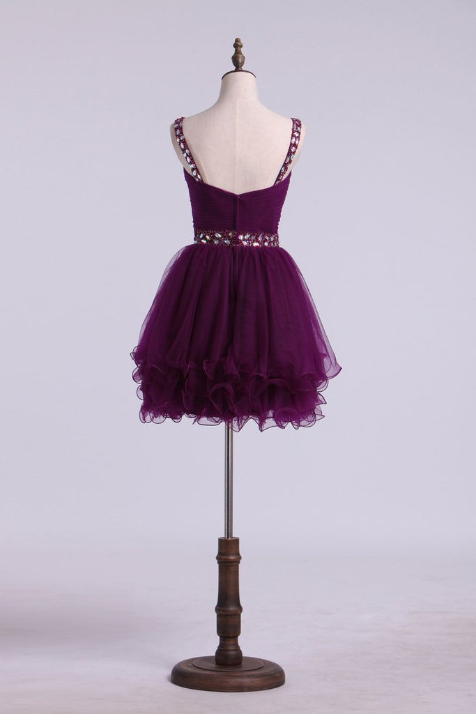 Homecoming Dresses Sweetheart Tulle With Ruffles And Beading Mini
