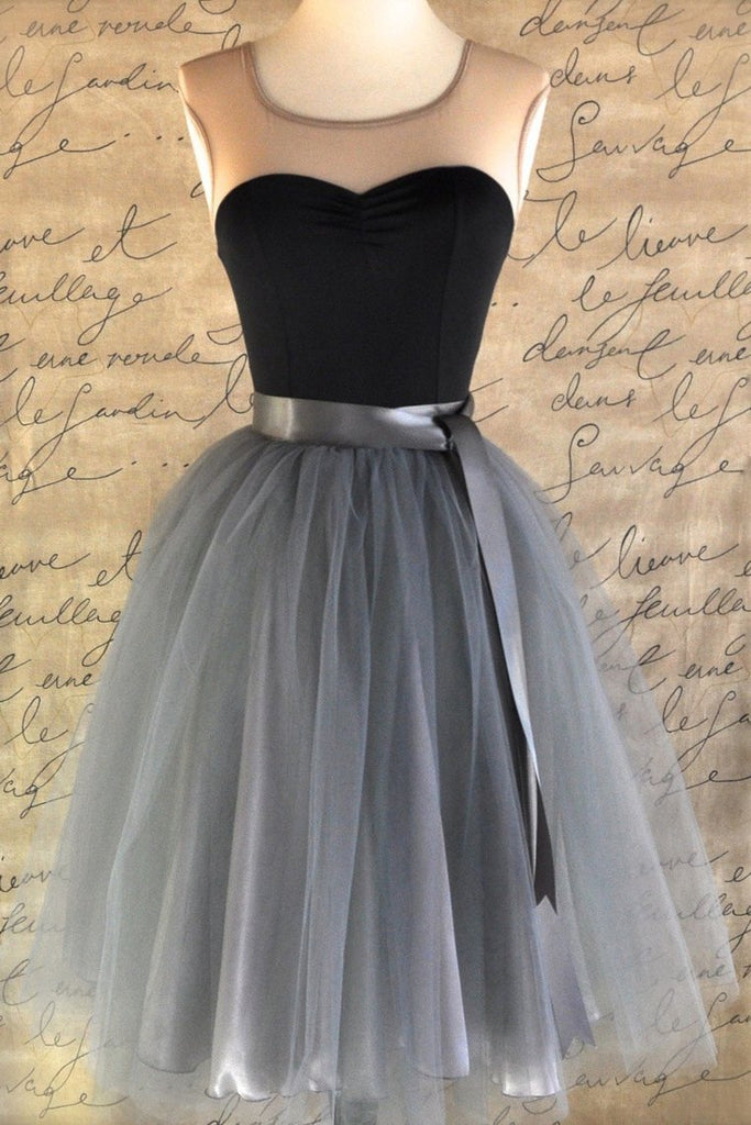 2021 Homecoming Dresses A Line Scoop With Sash/Ribbon Knee Length Tulle