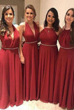 Elegant A Line Chiffon Red Crystal Maid of Honor, Bridesmaid Dresses with STC20459