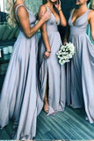 Elegant A Line V Neck Blue Straps Bridesmaid Dresses, Wedding Party STC15641