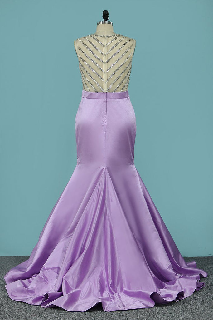 Sexy Mermaid/Trumpet Prom Dresses Scoop Satin