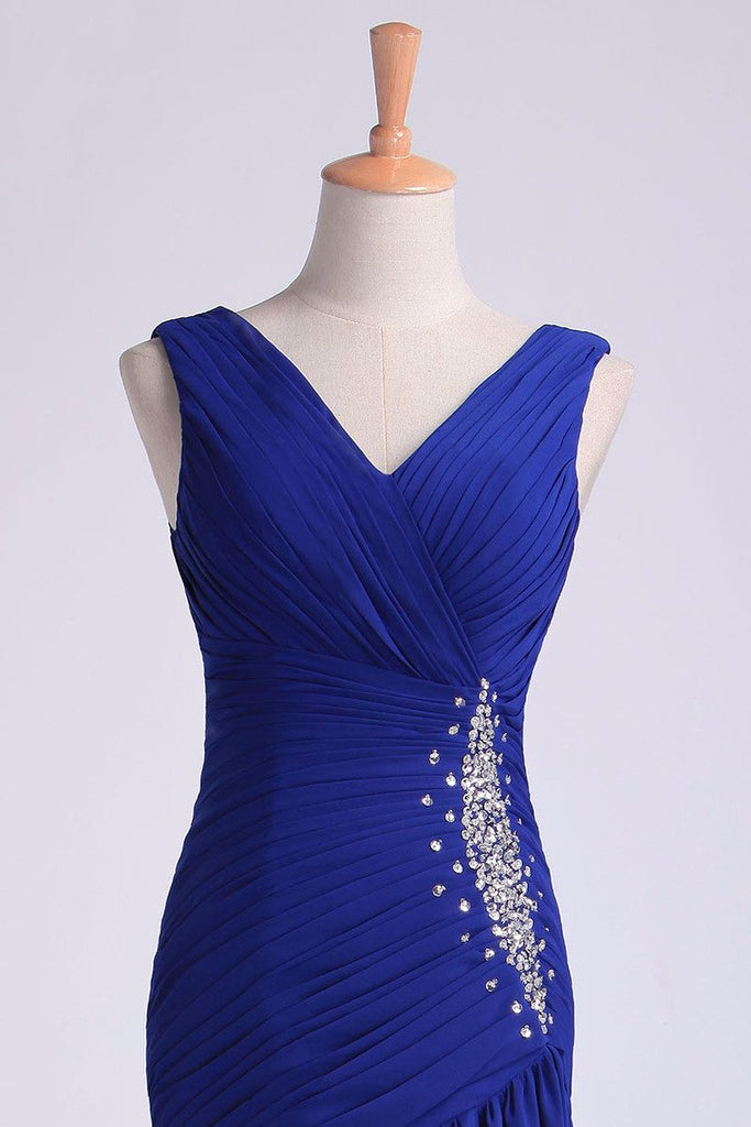 2019 V Neck Pleated Bodice Column Sweep Train Prom Dress With