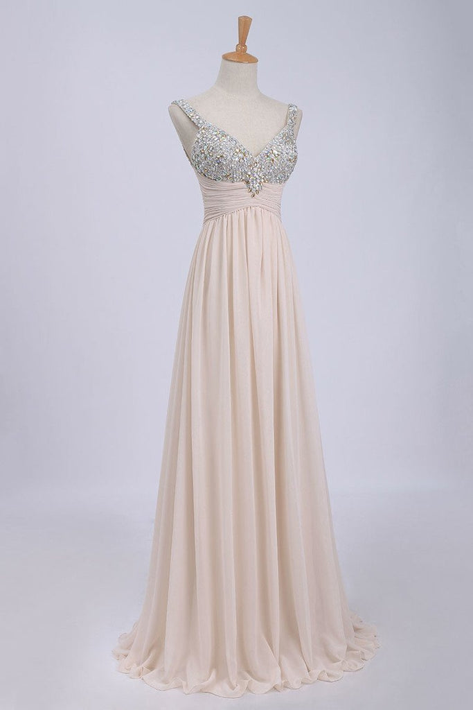2019 Prom Dresses/Cheap Prom Dresses/ Bust Pleated Bodice With Chiffon Skirt Floor Length Prom