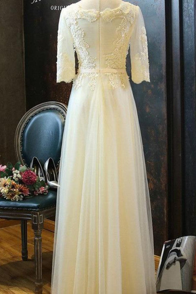 2021 A Line Scoop Tulle Prom Dresses Mid-Length Sleeves With