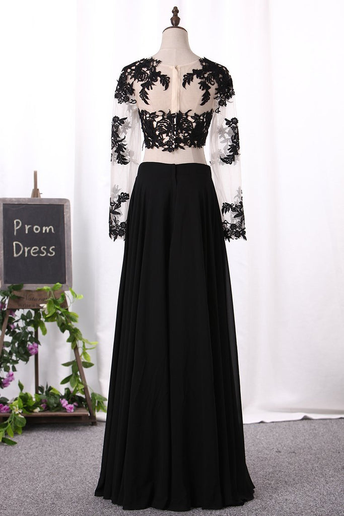 2019 Two-Piece Scoop Long Sleeves Prom Dresses A Line Chiffon With