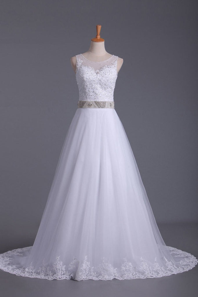 2021 A Line Scoop Tulle Wedding Dresses With Applique And Beads