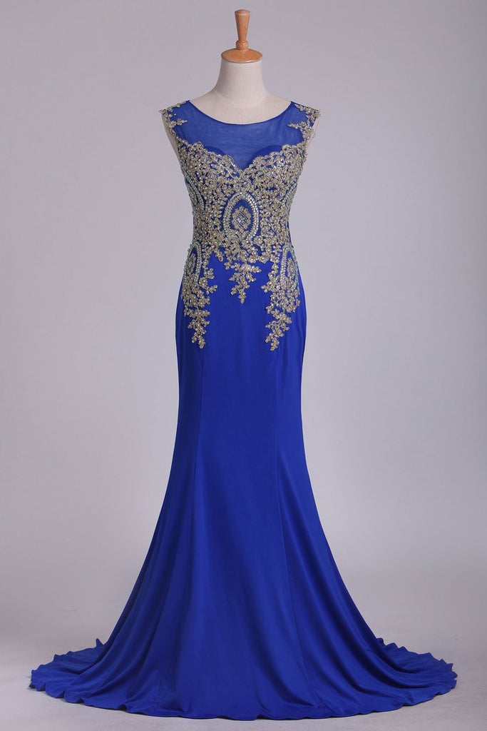 Dark Royal Blue Prom Dresses Scoop Mermaid Spandex With Applique Sweep/Brush Train