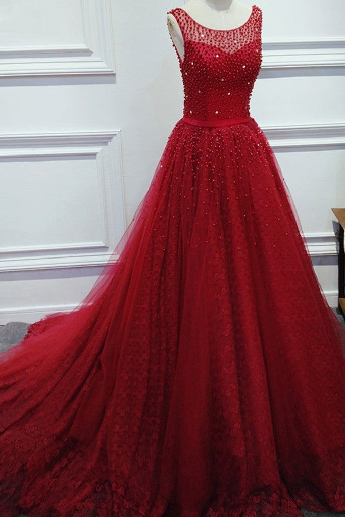 2019 A Line Scoop Beaded Bodice Lace With Sash Sweep Train Prom