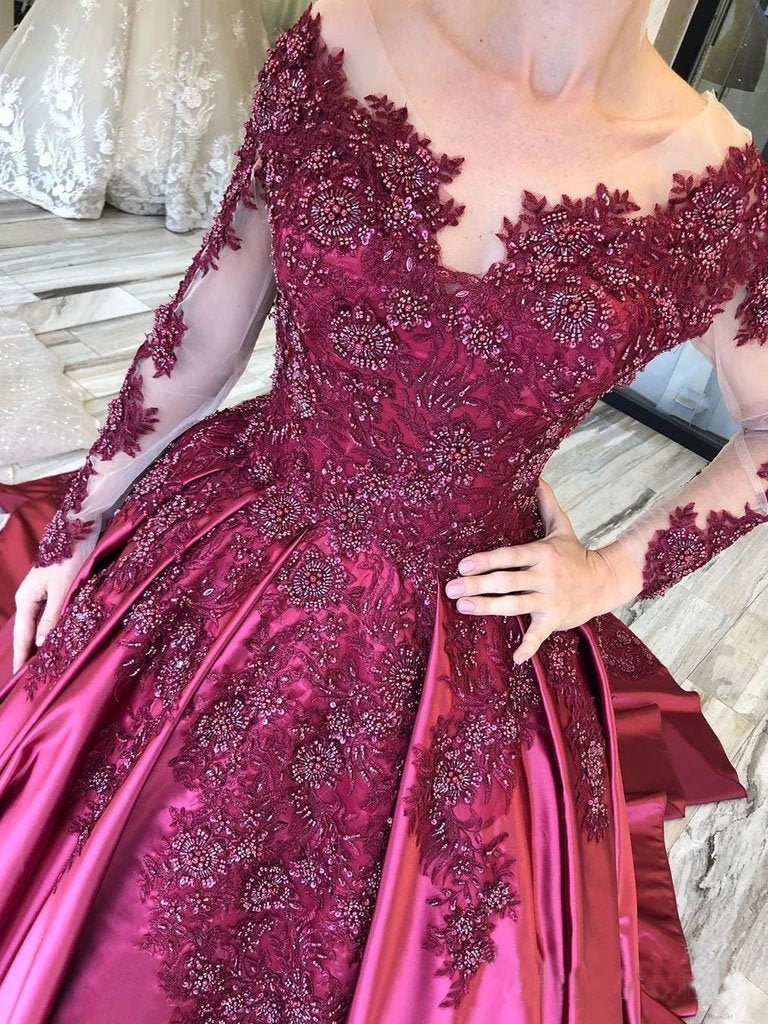 Ball Gown Long Sleeves Burgundy Satin Beads Prom Dresses with Appliques, Quinceanera Dress STC15498