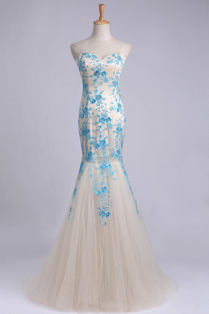 2019 Elegant&Perfect Tulle & Lace Prom Dress Corset Mermaid