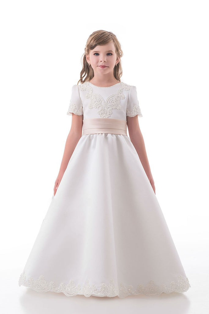 2019 A Line Scoop Short Sleeves Flower Girl Dresses With Applique