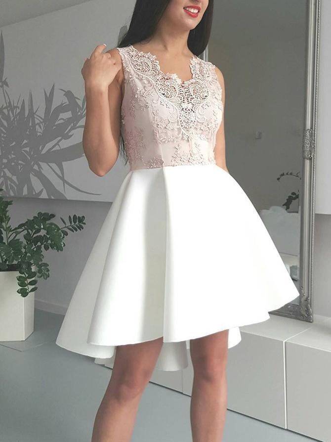 Cute Mini A Line Ivory High Low V Neck Lace Appliques Satin Homecoming Dresses