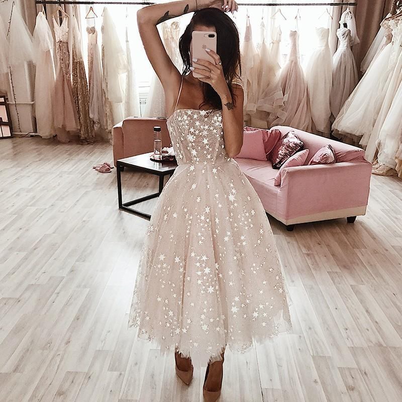 A Line Spaghetti Strap Tea Length Pearl Pink Tulle Prom Homecoming Dress With Beads