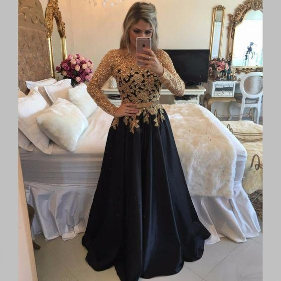 A line Lace Black Puffy Pearls Gold Evening Dresses Long Sleeve Appliques Prom Dresses