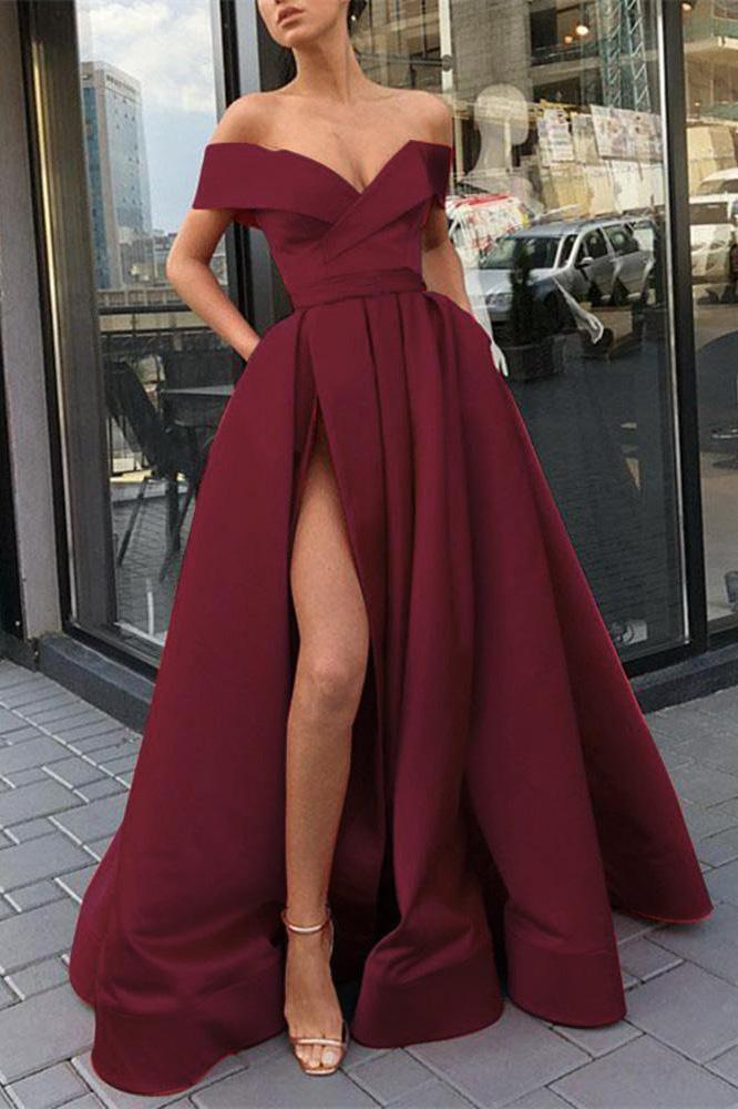 Burgundy Off the Shoulder High Split Satin Prom Dresses Long Cheap Evening Dresses