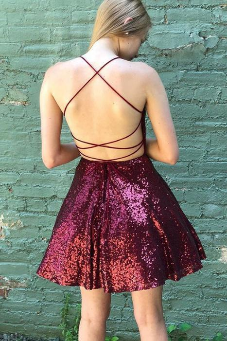 Criss Cross Back Burgundy Sequins Homecoming Dress Spaghetti Straps Sweet 16 Dress