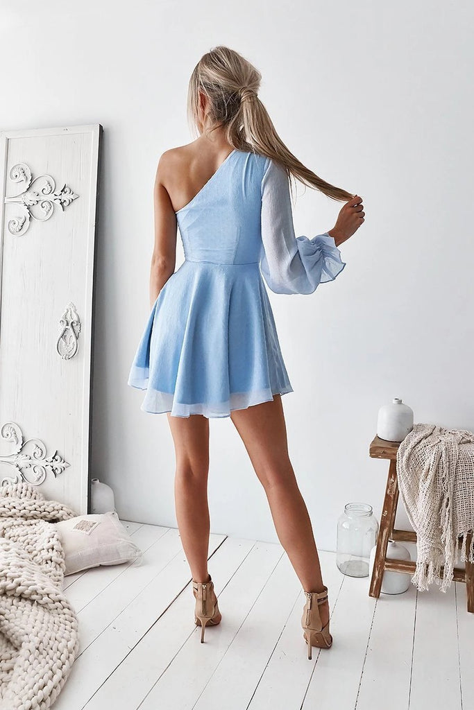 Cute Baby Blue One Shoulder Chiffon Cutout Homecoming Dresses Short Prom Dresses