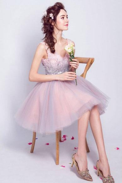 Cute Bling Sequins Short Tulle Party Dress V Neck Pink Lace up Homecoming Dresses