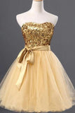 Cute Golden Strapless Mini Homecoming Dresses Tulle Sequin Sweet 16 Dress With Belt