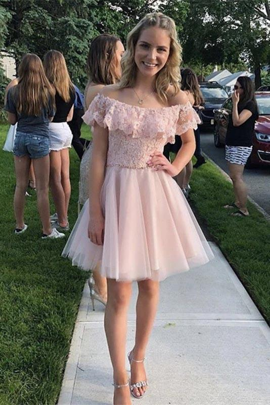 Cute Off the Shoulder Pink Tulle Short Homecoming Dresses with Lace