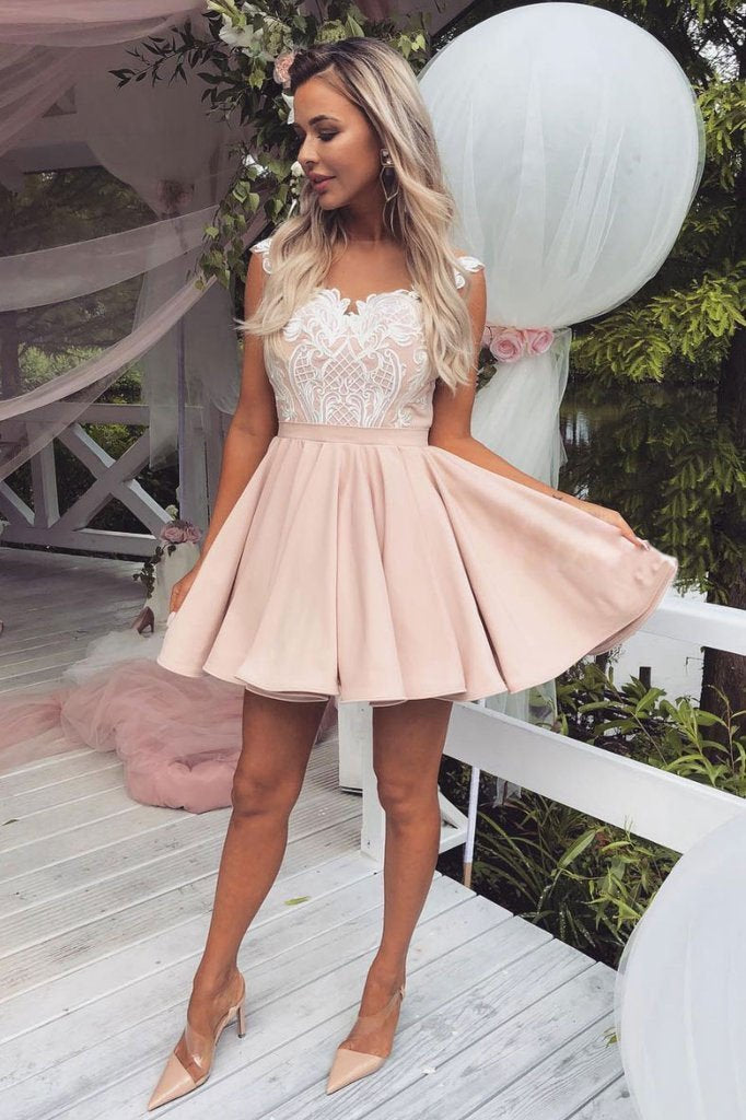 Cute Pink Lace Satin Above Knee Homecoming Dresses Sweet 16 Dresses