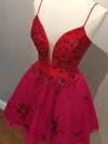 Cute Red Spaghetti Straps V Neck Tulle Beaded Short Prom Dresses Homecoming Dresses