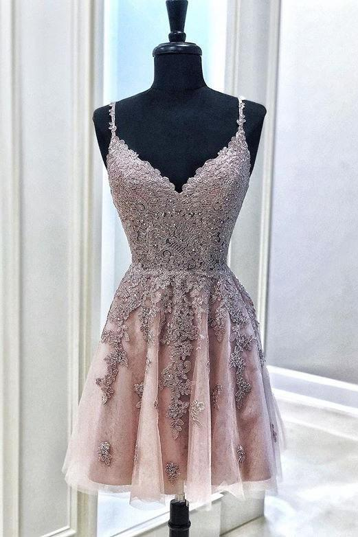 Cute Spaghetti Straps Mude Pink V Neck Lace Appliques Homecoming Dresses with Tulle