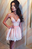 Cute Spaghetti Straps V Neck Pink Satin Homecoming Dresses with Lace Short Prom Dress